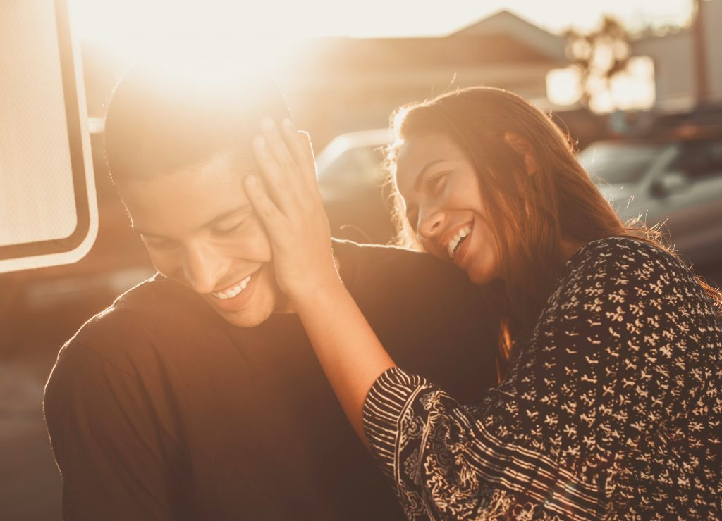 A picture of a couple smiling