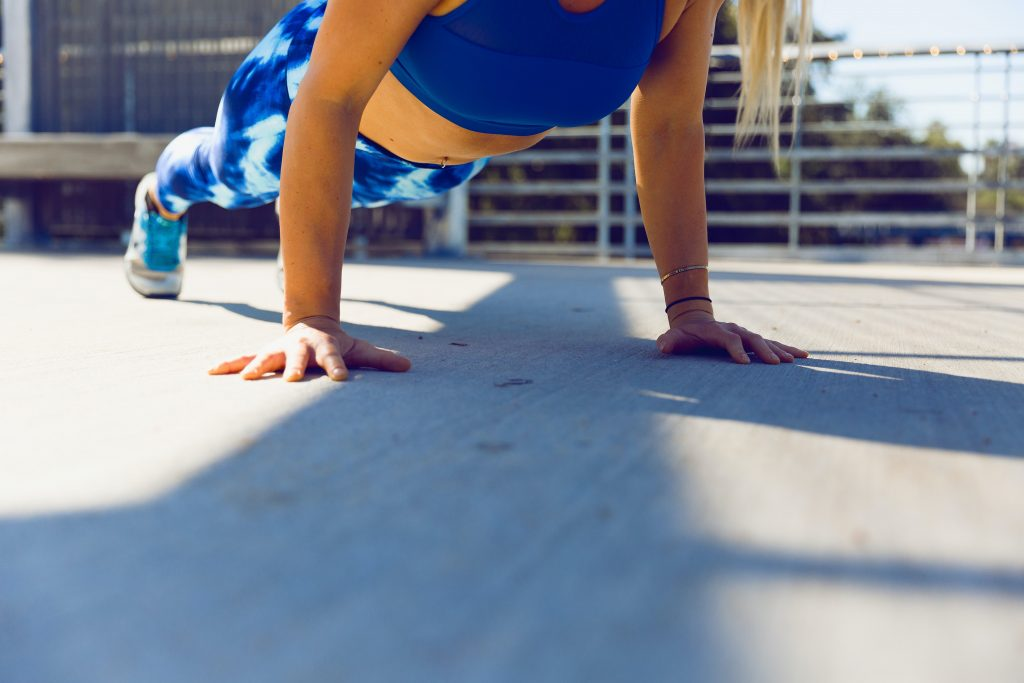 A woman doing a plank
