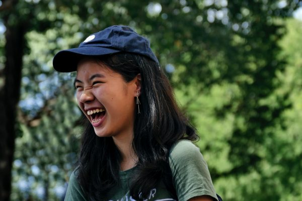 A person laughing